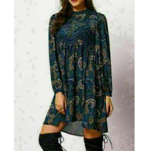 New Blue Paisley Crochet Lace Boho Dress